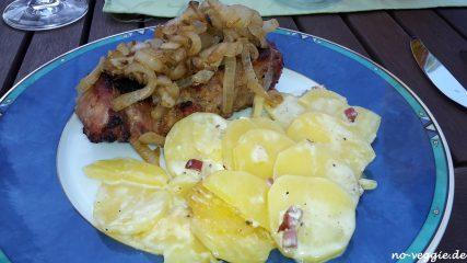 Obersteiner und Kartoffelgratin